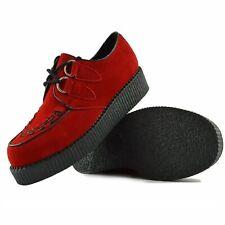 Rockabilly Retro Para Hombres Para Zapatos De Gamuza Rojo Genuino Informal Traje de Boda Talla Con cordones
