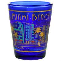 MIAMI BEACH FLORIDA SKYLINE METALLIC BLUE SHOT GLASS SHOTGLASS