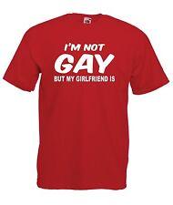 IM NOT Gay ma la mia fidanzata è uomo Xmas regalo di compleanno XXLARGE ROSSO T SHIRT TOP