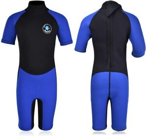 Realon Boys 2.5mm Neoprene One Piece Thermal Swimsuit (Blue, XL)
