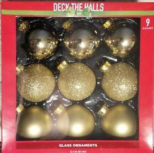 """9 Glass Ornaments Silver Gold Glitter 2.4"""""""