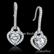 .925 Sterling Silver Dangle Fashion Earrings Women'S 2.50 Ct Heart Shape Cz