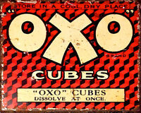 OXO  VINTAGE ENAMEL METAL TIN SIGN WALL PLAQUE
