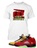 Get Money Tee Graphic Sneaker T Shirt to Match Jordan 5 Red Shoe Men