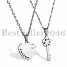 Couple Heart Lock and Key Stainless Steel Pendant His and Hers Necklaces Set