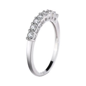 Ladies Genuine 925 Sterling Silver Simulated Diamond Eternity Band Ring HOT!!!