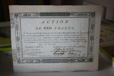 action de 1000 francs banque territoriale 16 nivôse an 10 copie