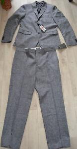 Herren- Anzug H&M Slim fit, Wolle mit Leinen, grau/weiß/meliert, Gr,48- 52