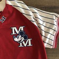 Vintage Disney Store Mickey Mouse Baseball Jersey Sz XL Stitched Logo Sewn Patch