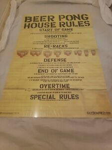 Beer Pong House Rules Get Bombed Plastic Cup Dorm Cave College Gag Gift Fill In