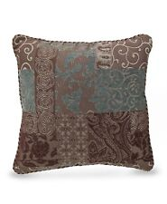 CROSCILL Throw Pillow, GALLERIA, 18' Square Multi-Color Red Brown Gold, NEW