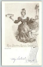 Boston Massachusetts~Miss Boston Sends Greetings~Spinster Holds Bean Pot~1904 PC