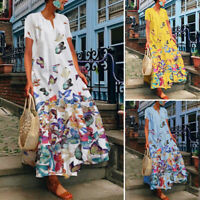 ZANZEA UK Womens Short Sleeve Floral Printed Casual Loose Kaftan Long Maxi Dress