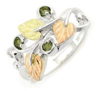 Landstrom's® Black Hills Gold on Silver Birthstone Ring -Soude Peridot Size 4-10