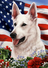 Large Indoor/Outdoor Patriotic I Flag - White German Shepherd 16195