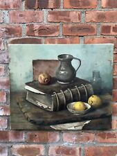 Dutch Artist Henk Bos Classic Still Life Oil On Canvas Painting. C1960's. Signed
