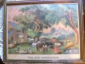 """""""THE OLD HOMESTEAD"""" CURRIER & IVES LITHOGRAPH FARM 11"""" x 13 1/2"""""""