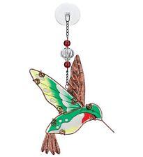 Hummingbird Hand Painted Glass Suncatcher NEW art summer porch deck garden metal