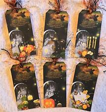 Halloween Thrills~Vintage~6 Large Hang Tags~Scrapbook~Cards~#121~judysjemscrafts