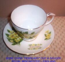 "Royal Winchester Bone China ""February"" CUP and Saucer ~ Made In England"