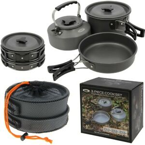 NGT 3 Piece Cook Set Carp Fishing Cooking Set Kettle Frying Pan Pot With Lid 3pc