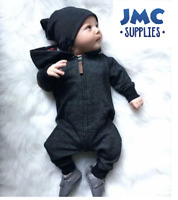 Newborn Babies Baby Boy Hooded One Piece Outfit Jumpsuit Romper Clothes set