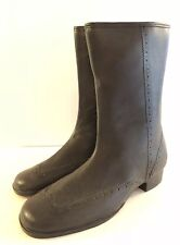 Mid Century Sz 7 Wing Tip Rubber Boots Mid Calf Lined Low Heel Made Usa Vintage