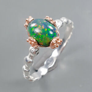 AAAA Quality fire Black Opal Ring Silver 925 Sterling  Size 7.5 /R173059