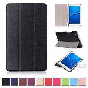 Folio Leather Tri-Fold Stand Smart Case Cover For Huawei MediaPad M3 M5 Pro Lite
