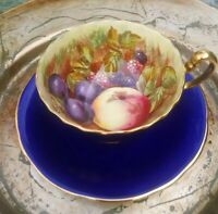 VTG AYNSLEY SIGNED Hand Painted 1920s Cobalt Blue Orchard Tea Cup & Saucer. EXC.