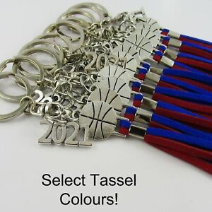 2021 Basketball Team Set of 12 Keychain Coach Sports Gift Select Tassel Colours