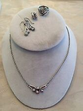 RETIRED Authentic PANDORA Ocean Wave~Necklace, 6.5 Ring, Earrings & Charm w/BOX!