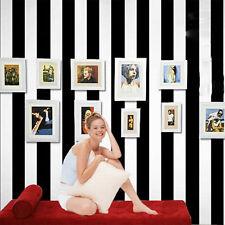 10M Modern Black White Vertical Stripe Wallpaper roll  TV Background Home Decor
