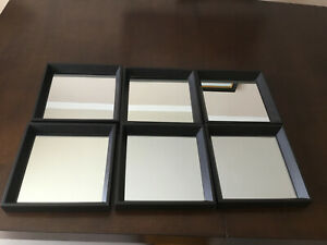 "6 MCS Industries Framed SQUARE Mirrored Wall Art dark brown frame 9"" x 9"""