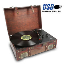 USB Vinyl Turntable Record Player Speakers MP3 Convert Retro Vintage Suitcase