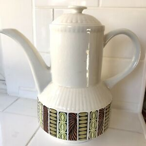Vintage Kathie Winkle Coffee Pot Mardi Gras Pattern Broadhurst Ironstone Pottery