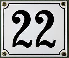 """Weiße Emaille Hausnummer """"22"""" 14x12 cm Hausnummernschild sofort lieferbar Schild"""