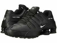 Nike Mens Shox NZ EU Running Shoes BLACK LEATHER/WHITE 501524-091 Size 9.5