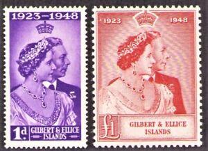 GILBERT & ELLICE Islands KGVI Silver Wedding 1949 Sc 54-55 SG57-58 CV $14.25