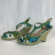 Poetic License Behave Yourself Blue Green Wedge Heels Gold Tone Weave 7.5