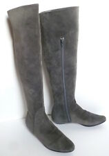 MICHEL PERRY ITALY Gray Suede Leather OVER THE KNEE BOOTS-36