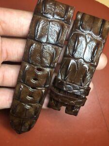 26mm-24mm-dark brown Genuine hornback-CROCODILE-SKIN-WATCH-STRAP-BAND