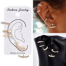 Womens Girl's 4PCS/Set Ear Stud Earrings Crystal Punk Small Hoop Band Earring