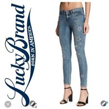 Lucky BRAND Womens Stella SKINNY Distressed Embroidered Jeans Size 29x28 Ankle
