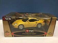 Burago 1:18 Scale Die Cast 3367 Porsche 911 Turbo 1999 Yellow Mint In Box