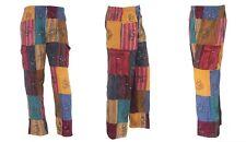S-5XL Patchwork Cotton Trousers Hippy Boho Yoga Pants Festival Combat Cargo S27
