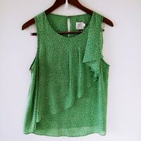 Anthropologie HD in Paris Top Sz 10 Green Sleeveless Asymmetrical Ruffle Sheer