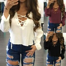Womens Long Sleeve Shirt Deep V-Neck Lace Up loose Chiffon Blouse Cropped