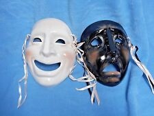 Comedy & Tragedy SET DRAMA About Face Clay Art Ceramic Mask Wall Decor