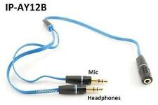 "13"" Headphone 3.5mm Stereo F to 2M Flat Blue Splitter Adapter, iPhone to Mic"